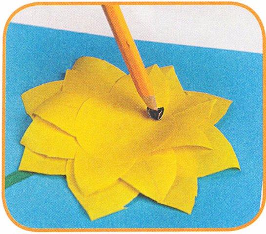 Как сделать подсолнух цветной бумаги