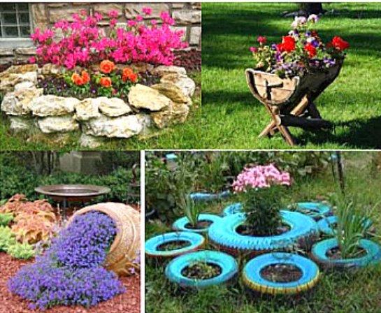 Как украсить цветник из подручных материалов