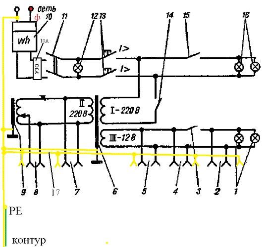 Электрическая схема гаража