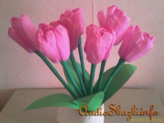 Тюльпан из салфеток своими руками 20