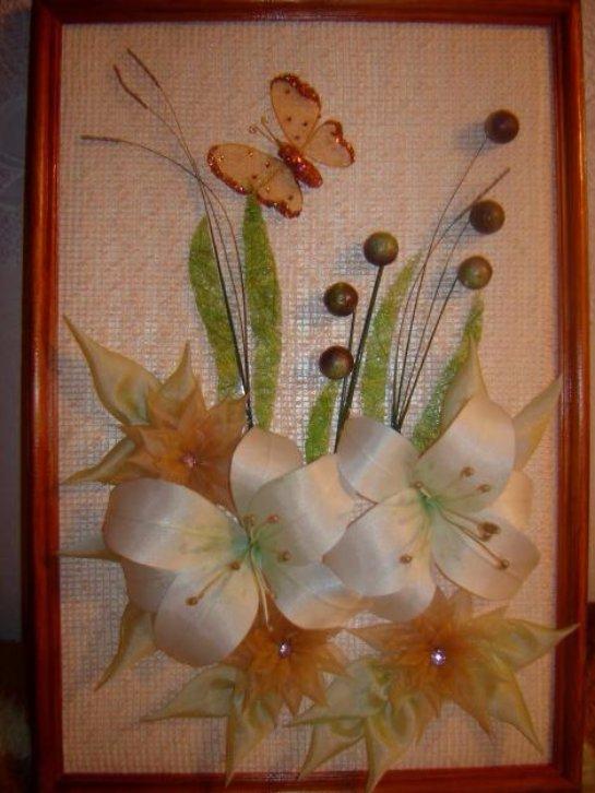 Картина из цветов из ткани своими руками 419